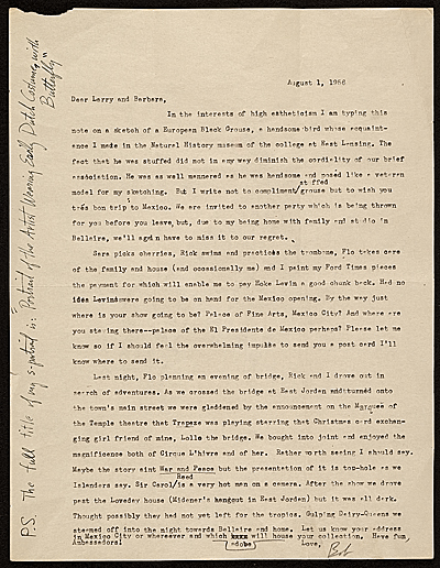 [Charles B. Culver letter to Lawrence and Barbara Fleischman, Detroit, Mich.]