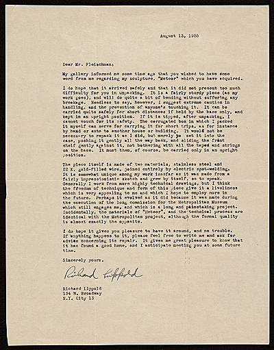 Richard Lippold, New York, N.Y. letter to Lawrence Arthur Fleischman, Detroit, Mich.