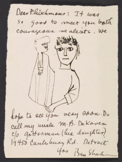 [Ben Shahn letter to Barbara and Lawrence Fleischman]