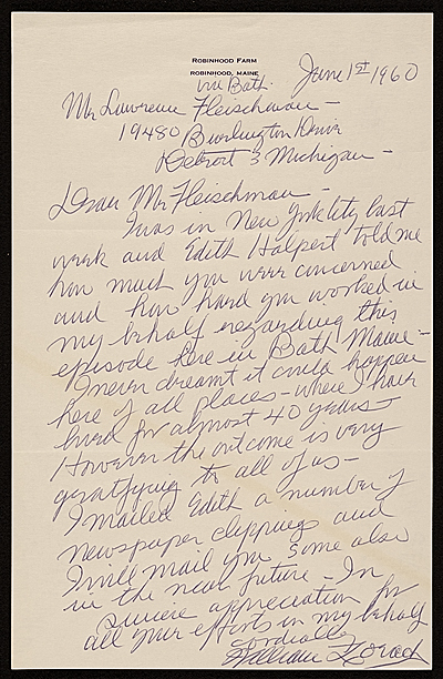 [William Zorach, Bath, Me. letter to Lawrence Arthur Fleischman, Detroit, Mich.]