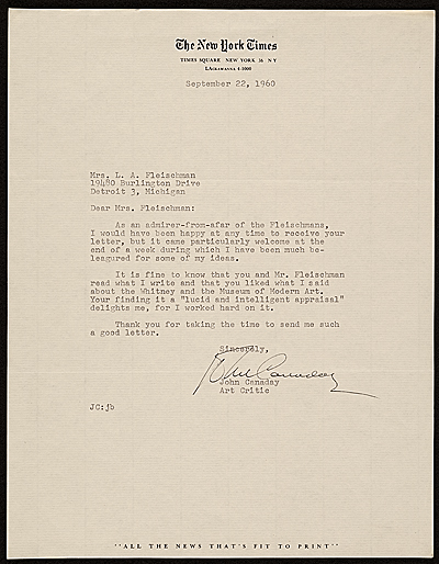 John Canaday, New York, N.Y. letter to Barbara Fleischman, Detroit, Mich.