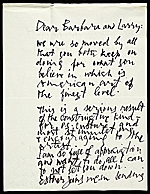 Letter from Abraham Rattner to Lawrence and Barbara Fleischman