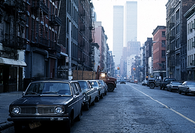 [Soho, street view, World Trade Center in background]