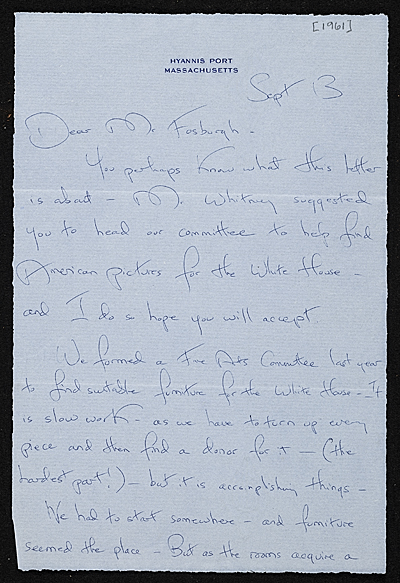 Jacqueline Kennedy Onassis, Hyannis Port, Mass. letter to James Whitney Fosburgh