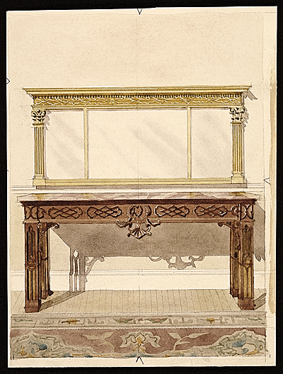 Drawing of a mirror by C.F. Richter of Foster Brothers Picture Frames