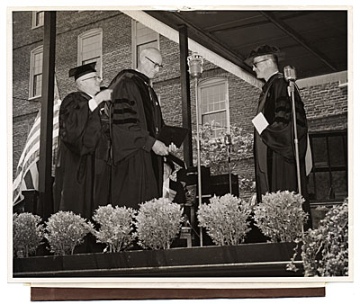 John R. Frazier receiving an honorary degree from Brown University