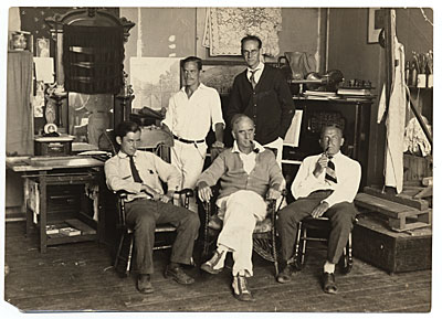 Raymond Eastwood, Edwin Dickinson, Charles Hawthorne, John R. Frazier, and Dr. H.T. Tracy at Dickinsons Pearl St. studio