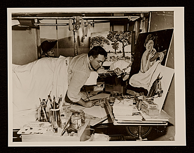 Sam Francis painting in his room at Ft. Miley Veterans Hospital, San Francisco, Calif.