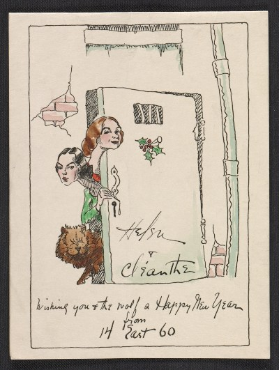 Helen and Cleanthe Carr Christmas card to Alfred Frueh