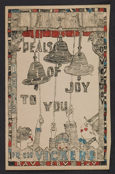 Vickers family Christmas card to Fred and Adelaide Morris Gardner