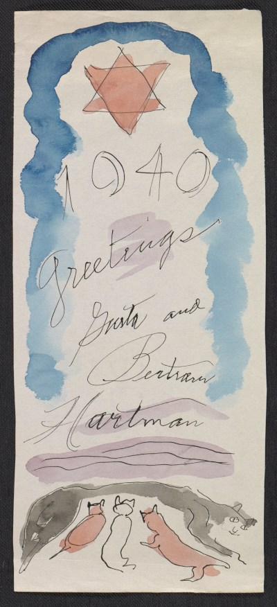 [Gusta and Bertram Hartman holiday card to Fred and Adelaide Morris Gardner]