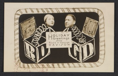Rosa and George Davison holiday card to Fred and Adelaide Morris Gardner