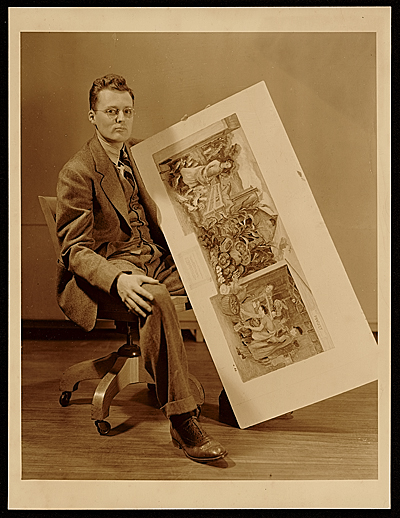 Robert Franklin gates with reproduction of his mural for the post office in Bethesda, Md.