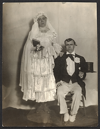 Robert Ament and Wood Gaylor in wedding attire for the Penguin Clubs strawberry festival