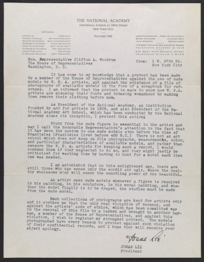 Jonas Lie, New York, N.Y. letter to Clifton A. Woodrum, Washington, D.C.