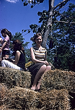 Caroline Lerner at Allan Kaprow's Tree Happening on George Segal's farm
