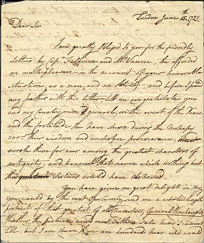 [Benjamin West letter to Charles Willson Peale]