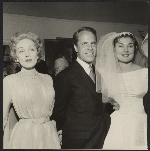 Cleve and Francine Gray at their wedding, with Marlene Dietrich