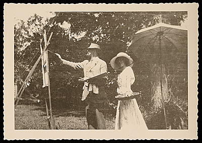 [Edmund W. Greacen plein air painting with an unidentified woman]
