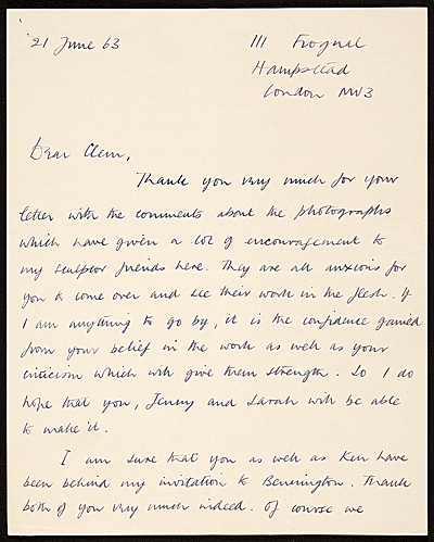 Anthony Caro, London, England letter to unidentified recipient
