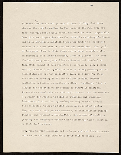 [Clyfford E. Still letter to Clement Greenberg]