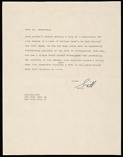 Clyfford E. Still, letter to Clement Greenberg