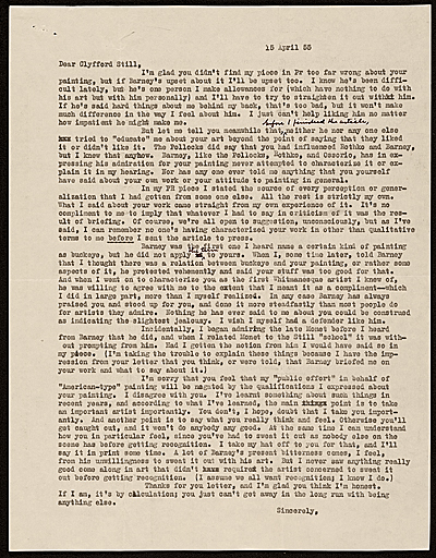 Clement Greenberg letter to Clyfford E. Still