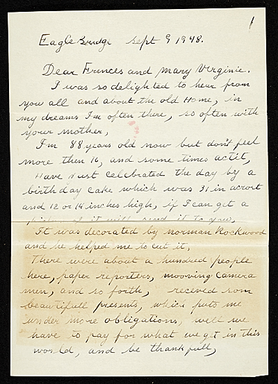 [Grandma Moses (Anna Mary Robertson Moses) letter to Frances and Mary Virginia Greer]