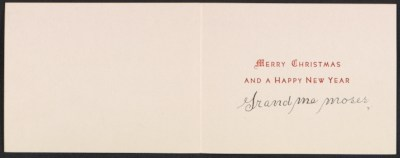 Grandma Moses Christmas card to Frances and Mary Virginia Greer