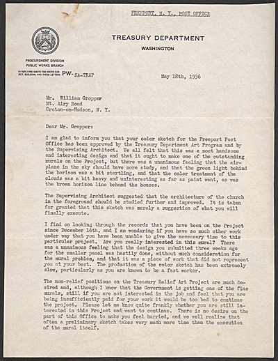 Olin Dows letter to William Gropper and draft response from Gropper