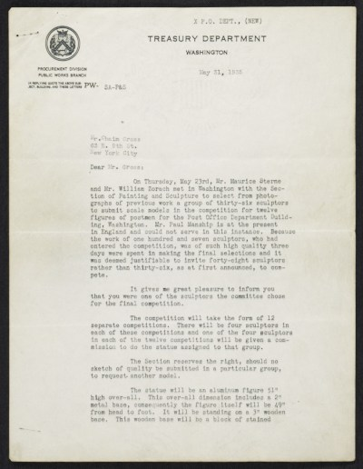 Edward Beatty Rowan, Washington, D.C. letter to Chaim Gross, New York, N.Y.