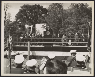 [Lyndon B. Johnson speaking at the dedication of the Theodore Roosevelt Memorial]