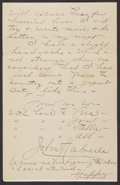 [Fragment of a letter to Sadie Haberle]