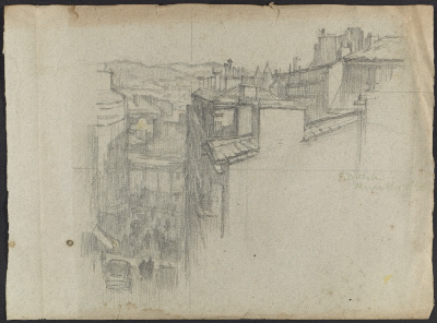 Sketch of Marseille by Ellen Day Hale and sketch of Cairo by Gabrielle de Veaux Clements