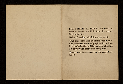 [Advertisemant for Philip L. Hale's summer class]