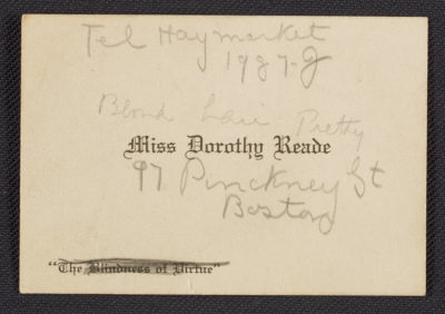 Dorothy Reade visiting card