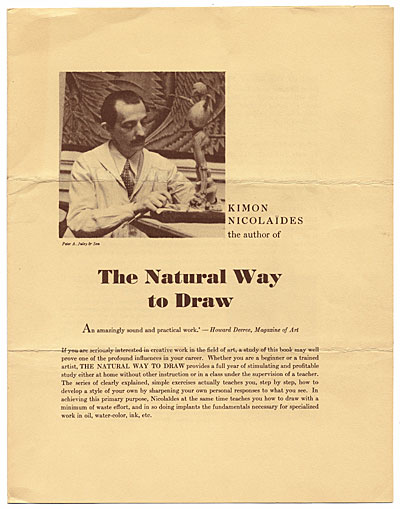 [Advertisement for the book,  The Natural Way to Draw ]