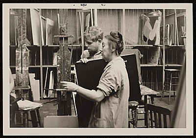 Agnes Hart assisting students at the Art Students League, New York, N.Y.