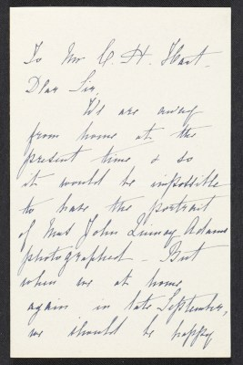Mrs. J. Q. Adams letter to Charles Henry Hart