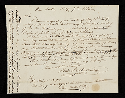 John James Audubon, New York (State) letter to Henry Meigs, New York, N.Y.