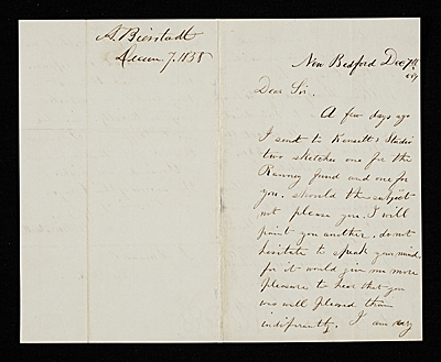 [Albert Bierstadt, New Bedford, Mass. letter to John Durand, New York, N.Y.]