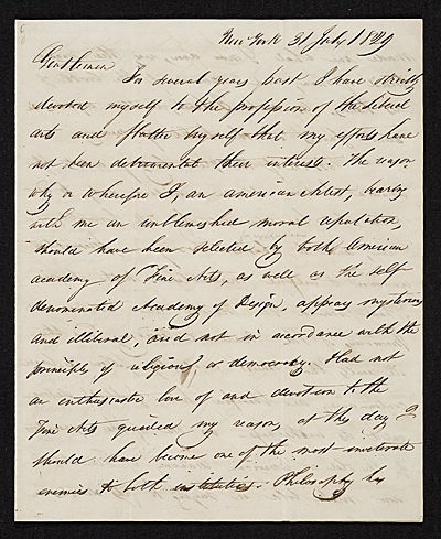 John George Brown, New York, N.Y. letter to unidentified recipient, New York, N.Y.
