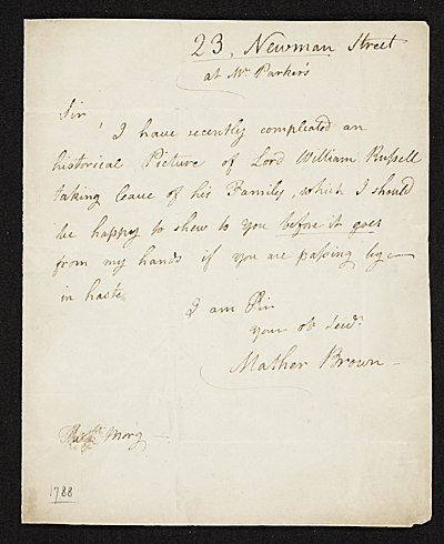 Mather Brown letter to unidentified recipient
