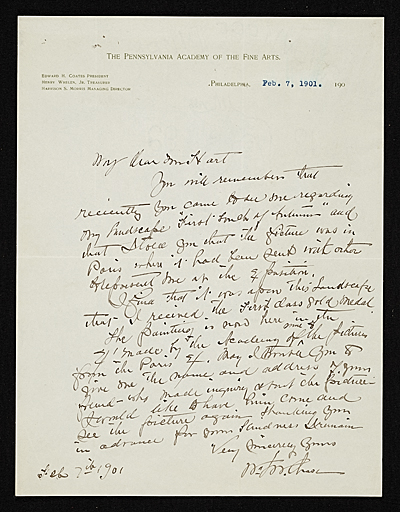 [William Merritt Chase, Philadelphia, Pa. letter to Charles Henry Hart]