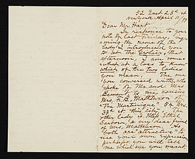 F. B. (Francis Bicknell) Carpenter, New York, N.Y. letter to Charles Henry Hart