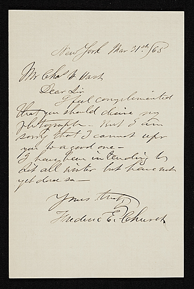 Frederic Edwin Church, New York, N.Y. letter to Charles Henry Hart