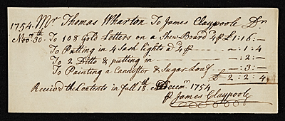 Payment from Mr. Thomas Wharton to James Claypoole.