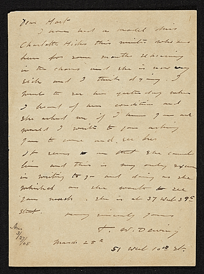 Thomas Wilmer Dewing, Boston, Mass. letter to Charles Henry Hart, New York, N.Y.