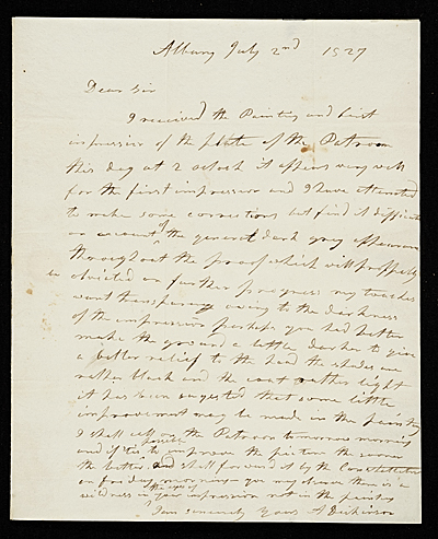 [Anson Dickinson, Albany, N.Y. letter to Asher Brown Durand, New York, N.Y.]