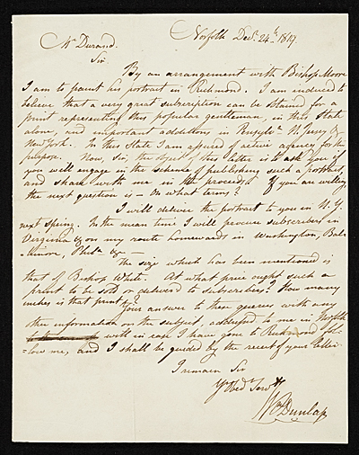 [William Dunlap, Norfolk, Va. letter to Asher Brown Durand, New York, N.Y.]